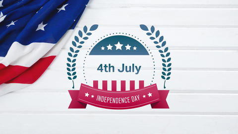 4th of July, Independence day text in banner and a flag Animation