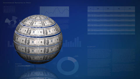 Rotating dollar bill sphere on a dark blue background with charts and statistics Animation