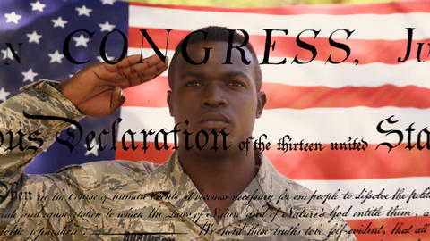 Flag behind military man and the written constitution of the United States Animation