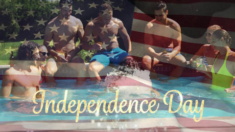 Independence day text with a flag and group of people for fourth of July Animation