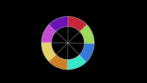 Circle with colours appears and disappears on black background Animation