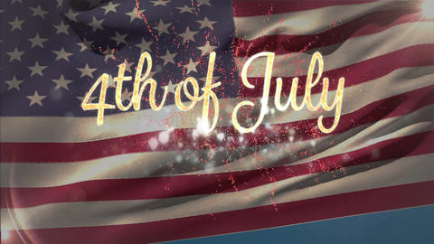 4th of July text with fireworks and American flag Animation