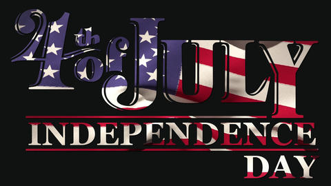 4th of July, Independence day text in banner and flag Animation