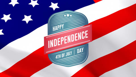 Happy Independence Day, 4th of July text in badge and flag Animation