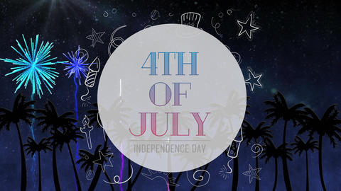 4th of July text and silhouette of palm trees with fireworks Animation