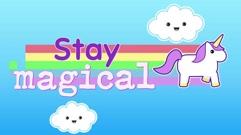 Animation of words Stay magical appearing with unicorn 4k Animation