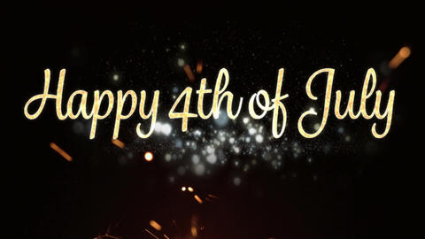 Happy 4th of July greeting and sparkles on fourth of july Animation