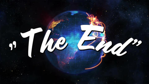 The end message with a rotating globe Animation