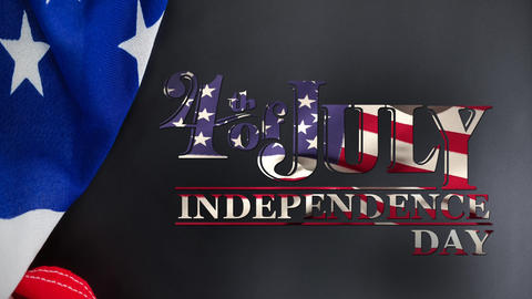 4th of July, Independence Day text in banner with an American flag Animation