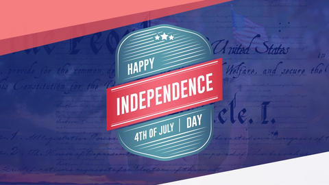 Happy Independence Day, 4th of July text in a badge with the constitution and a child holding flags Animation