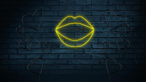 Neon sign showing lips and hearts Animation