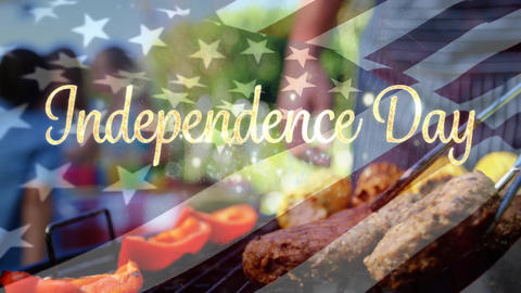 Independence day text with flag and barbecue Animation
