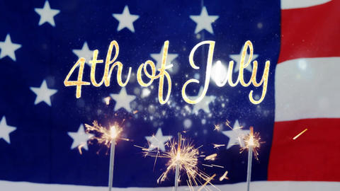 4th of July text and an American flag and cupcakes with sparkles on fourth of july Animation