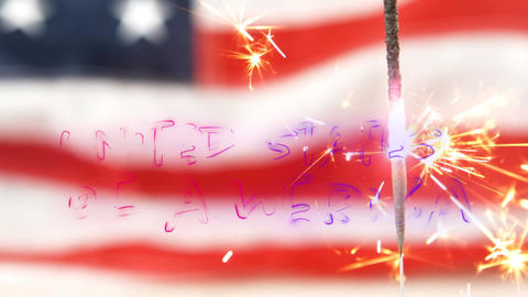United States of America text and an American flag behind a sparkle Animation