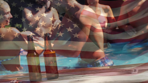 Group of friends in a pool and the American flag Animation