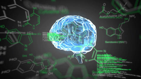 Brain hologram with chemical structure symbols Animation