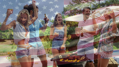 Group of friends having a picnic and an American flag for fourth of July Animation