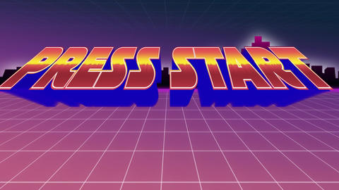 Press start message from an arcade game Animation