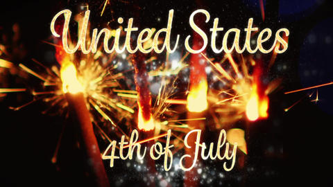 United States, 4th of July text and sparkles Animation