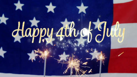 Happy 4th of July text and an American flag with sparkles on cupcakes Animation
