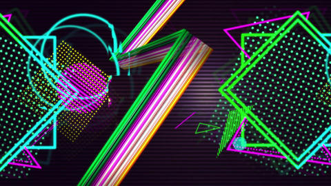 String of lights beside colourful shapes and patterns Animation