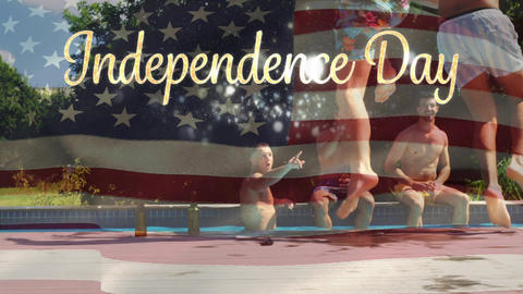 Friends in a pool and American flag with Independence day text for fourth of July Animation