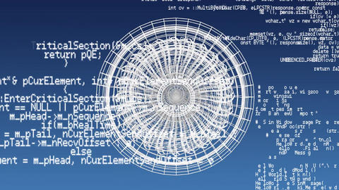 Revolving technical drawing of turbine on a blue background Animation