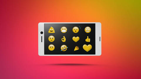 Smart phone with a emojis on its screen for social media Animation