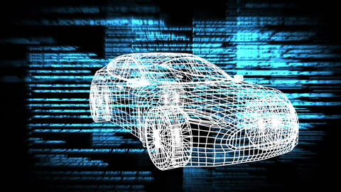 Revolving technical drawing of car with data on a dark background Animation