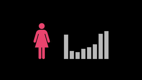 Grey bar graph and pink female icon Animation