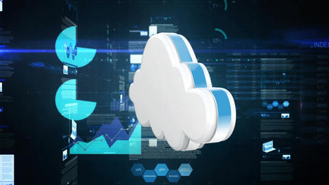 Cloud storage with graphs and statistics Animation
