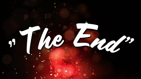 Words The End are displayed on background with fairy lights Animation