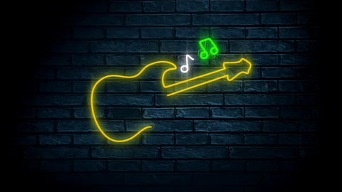 Guitar lead light signage with music notes Animation
