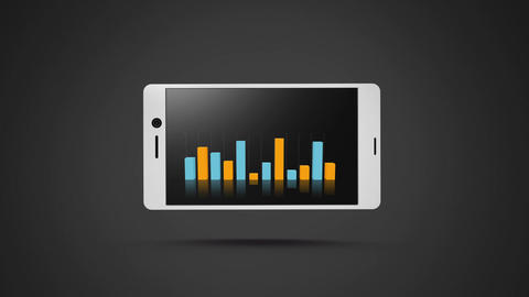 Smart phone with bar graphs Animation