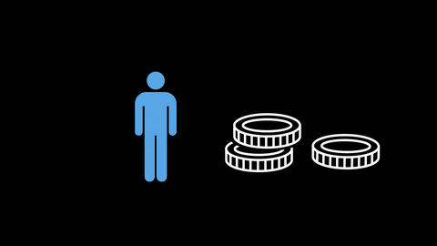 A person and a pile of three moving tyres Animation