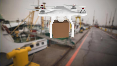 Drone carrying a package across a port Animation