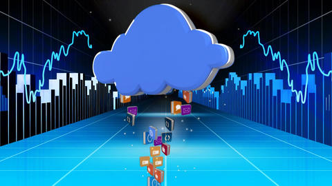 Icons rising into a blue cloud travelling beween moving charts Animation