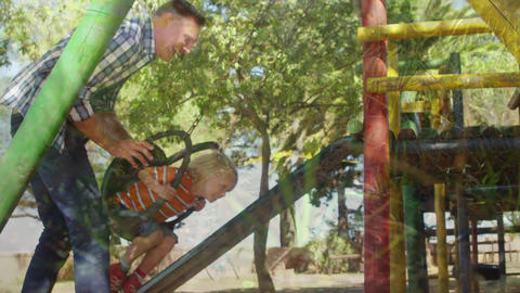 Father and son in a playground Animation