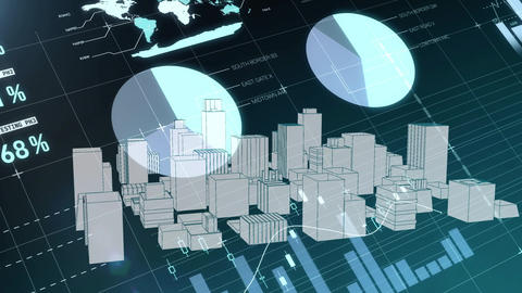 Graphs and virtual buildings in a city Animation