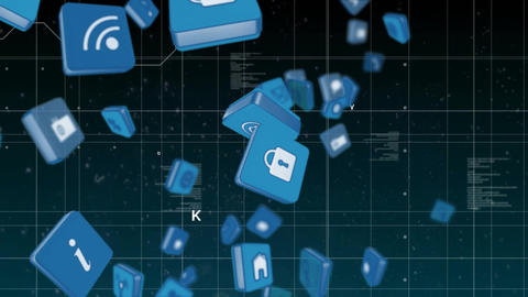 Online and application icons in squares in a futuristic background with program codes Animation
