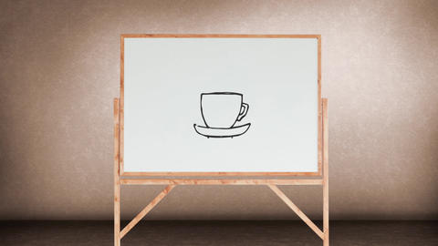 Drawing of a cup of coffee on a white board Animation