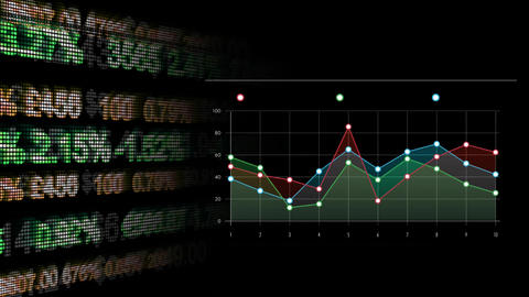 Line graph analysis of stock market numbers Animation