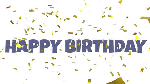 Happy birthday message with confetti Animation
