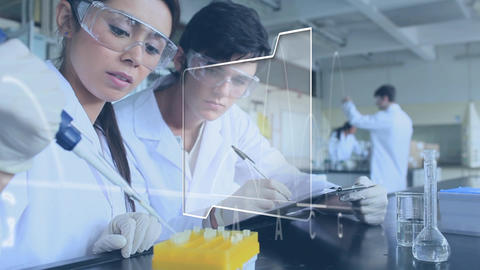 Scientists in a laboratory with a genetic base sequence and a digital interface Animation