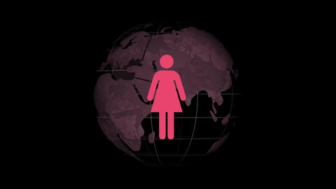 Female symbol on a globe background Animation