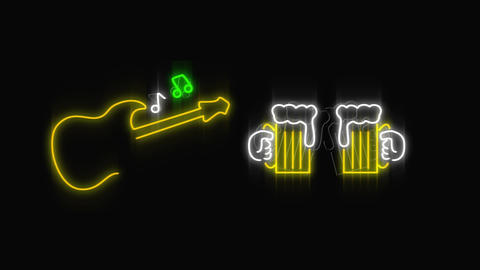 Led light guitar and beer signage Animation
