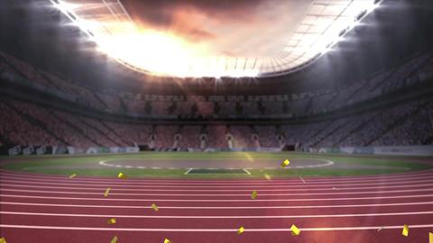 Running stadium with gold confetti Animation