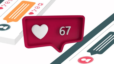 Heart icon with increasing count in social media Animation