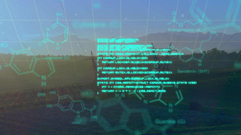 Chemical structures with program codes and a background of transmission towers Animation