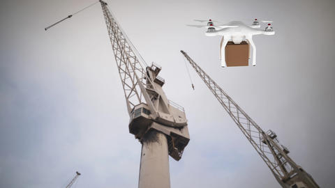Drone carrying a box and crane Animation